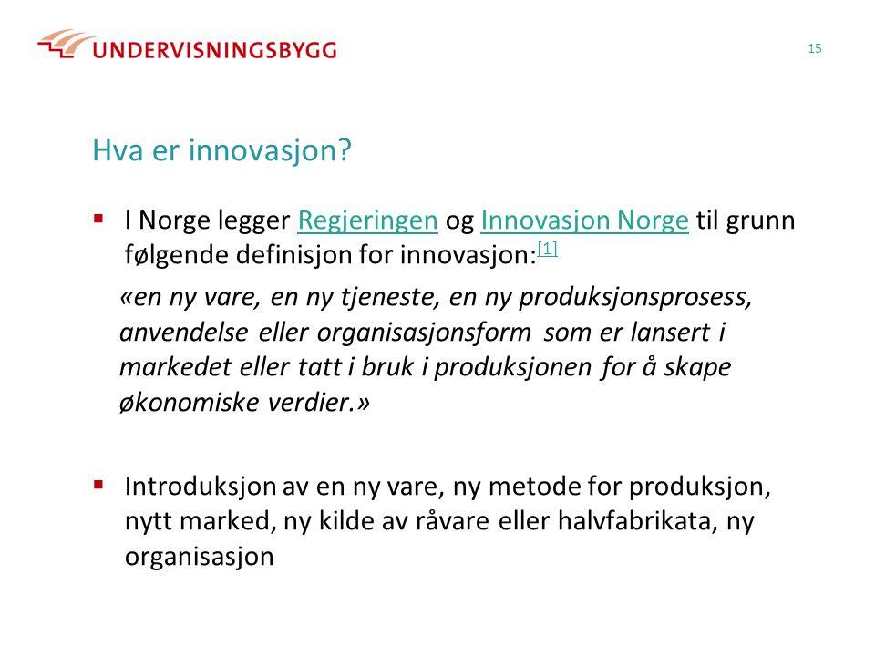 Hva er innovasjon I Norge legger Regjeringen og Innovasjon Norge til grunn følgende definisjon for innovasjon:[1]